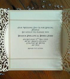 Vintage paisley lace and pearl drop invitation.