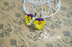 Earrings with yellow pansies polymer clay by HandMadeBlossom
