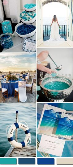 beach themed wedding ideas in shades of blue and beach wedding invitations