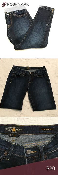 Lucky Brand skinny jeans size 2 Lucky Brand jeans. Zoe Skinny style. Size 2/26. Zippers at the ankles. Great condition. Lucky Brand Jeans Skinny