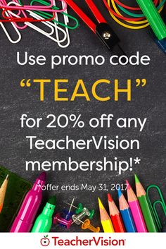 """Teacher Appreciation Month continues! Sign up for any TeacherVision membership plan using promo code """"TEACH"""" and get 20% off! Don't miss your chance to get a great deal on thousands of teaching resources for every grade level and subject. (Offer ends May 31, 2017.)"""