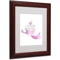Trademark Fine Art Cupcake 8 inch Framed Canvas Art by Jennifer Lilya, Wood Frame, Size: 16 x 20, Multicolor