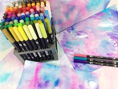 How to marble paper with the Tombow Blending Kit. Using the blending palette, mister and dual brush pens to create the perfect marbled paper every time.
