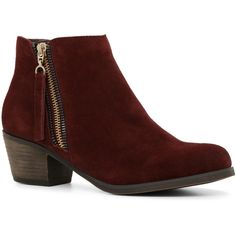 ALDO Rabalais ($70) ❤ liked on Polyvore featuring shoes, boots, ankle booties, ankle boots, bordeaux suede, mid heel ankle boots, leather sole boots, mid heel booties, round toe booties and rounded toe boots