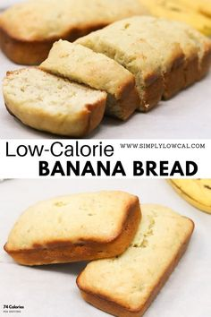 Low-calorie banana bread recipe is only 74 calories per slice. It's great for breakfast, snack, dessert, or whenever the mood strikes. | Simply Low Cal @simplylowcal #bananabread #lowcalorie #breakfast #snackrecipes #breakfastrecipes #simplylowcal Low Calorie Banana Bread, Low Calorie Snacks, No Calorie Foods, Banana Bread Recipes, Low Calorie Recipes, Easy Gluten Free Desserts, Easy Desserts, Pavlova, Baking Recipes