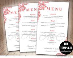 Pink Menu Template,DIY Wedding Menu Card,Pink Wedding Menu Template Instant Download, Printable Salmon Pink Wedding Menu,Lace Wedding Menu by paperfull on Etsy
