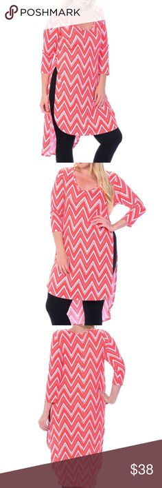 PLUS Chevron Hi-Low Top This cute top goes with leggings or skinny jeans. 96% rayon 4% spandex.  Coral color. Bellino Clothing Tops Tunics