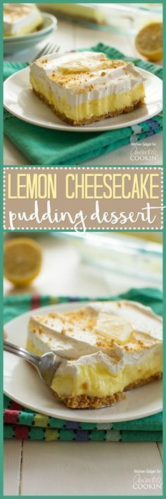 Lemon cheesecake pudding dessert is a no-bake dream! Graham crackers, lemon pudding, cream cheese and whipped topping combine in this layered lemon dessert! (oreo cheesecake cupcakes no bake) Pudding Desserts, Desserts Keto, Cheesecake Pudding, Lemon Dessert Recipes, Lemon Cheesecake, Lemon Recipes, No Bake Desserts, Just Desserts, Delicious Desserts