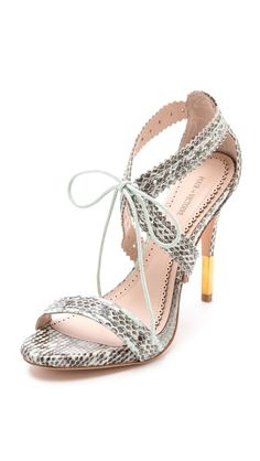 Pour La Victoire Shanna Lace Up Sandals .. the perfect compilation of everything I LOVE! the snakeskin print, the subtle mint green, the gold-dipped heel + the criss-cross straps that tie!