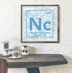 North Carolina Tar Heels- University of North Carolina Chapel Hill- Vintage Periodic Map ART PRINT