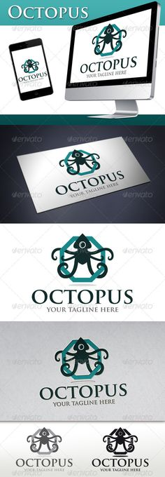 Octopus  Logo Design Template Vector #logotype Download it here: http://graphicriver.net/item/octopus-logo/3094572?s_rank=464?ref=nexion