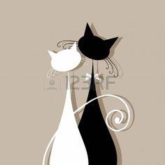 Gatos pareja juntos, silueta para su dise�o photo