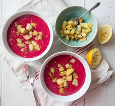 Roasted Beet and Potato Soup! http://deliciouslyella.com/recipe/roasted-beet-and-potato-soup/