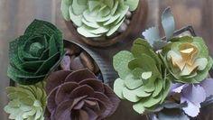 Aprenda a seguir como fazer 4 tipos de suculentas de papel passo a passo, para decorar de forma prim
