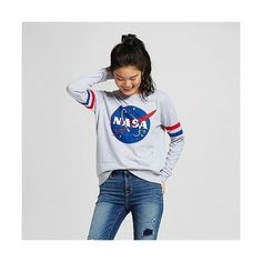 I just love this sweatshirt so much Women's Nasa Sweatshirt - Mighty Fine® : Target Outfits For Teens, Casual Outfits, Cute Outfits, Fashion Outfits, Grey Shirt, Grey Sweatshirt, Nasa Hoodie, Nasa Clothes, T Shirts For Women