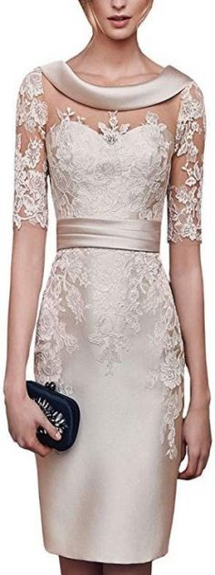 Lilybridal Women's Short Lace Prom Mother of the Bride Dress with Sleeves Champa. - Lilybridal Women's Short Lace Prom Mother of the Bride Dress with Sleeves Champagne at Amaz - Mother Of Bride Outfits, Mother Of Groom Dresses, Mothers Dresses, Mother Of Bride Dresses, Mob Dresses, Fashion Dresses, Dresses With Sleeves, Formal Dresses, Wedding Dresses