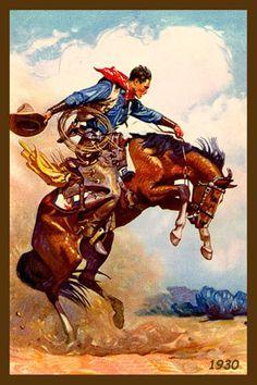 Olde America Antiques | Quilt Blocks | National Parks | Bozeman Montana : COWBOYS - Cowboy on Bucking Horse