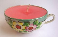 2 for 1! Use beautiful mismatched tea cups and old candles (wax) to make these beautiful teacup candles!