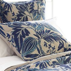 Inspired by rustic wood cuts, this linen sham features a bold botanical print on our heaviest linen cloth, which is enzyme washed for softness. Make a striking statement with our  striped Cameroon coordinates,  Laundered Linen decorative pillows and throws, and  Tailored Linen bed skirt.   • 100% linen.  • Self piping; solid backing.  • Envelope back closure with ties.