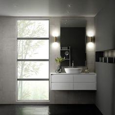 Modern White Bathroom with Aluminum Windows - Fenster Modern White Bathroom, Contemporary Bathrooms, House Windows, Windows And Doors, Vinyl Windows, House Window Design, Vinyl Replacement Windows, Residential Windows, Modern Windows