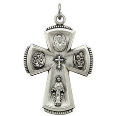 14k Two-tone Polished Rounded Cross Pendant Length 26.25 Width 14