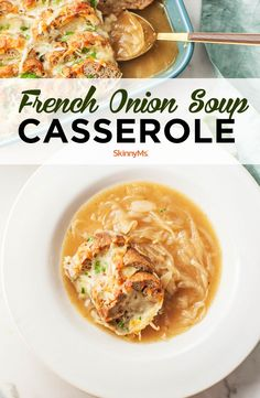 Your favorite soup in a warm, cheesy casserole? Learn how to make French onion soup casserole that has everything you love about the classic savory soup. Clean Eating Dinner, Clean Eating Recipes, Healthy Eating, Best Vegetarian Recipes, Healthy Dinner Recipes, Skinny Recipes, Healthy Tips, Onion Recipes, Soups