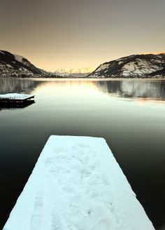 The lake at sunset in Zell am See, Austria. Photograph by Brendan O Neill
