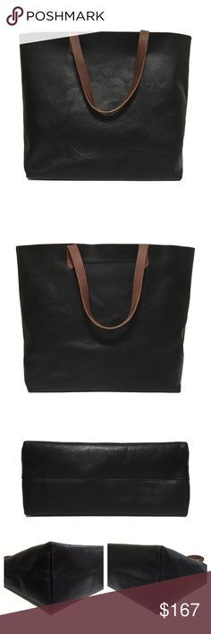 """❤️ Madewell Transport Tote in True Black The perfect everyday tote in beautiful veg tanned leather that will last for years and gets better with age. This bag shows some signs of wear, shown in the pictures, but is in excellent condition overall. The leather has broken in beautifully. The zipper on the interior pocket works fine.  Approximately 14"""" x 14"""" x 6""""  100% leather   ❌ Sorry, no trades. Madewell Bags Totes"""