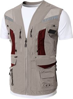 Amazon.com: H2H Herren Casual Wasserdicht 4. Outdoor Active Cargo Camping Weste: Clothing Fishing Vest, Fly Fishing, Work Casual, Men Casual, Safari Vest, Utility Vest, Tactical Clothing, Vest Outfits, Mens Clothing Styles