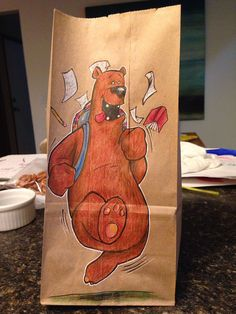 "Lunch Bags funny illustrations by Bryan Dunn [Dad drew Cool Cartoon Characters on his Son's Lunch Bags every day for the last 2 years] [""I draw all the time, I decided his bags were good practice. Tough material to work on, and it would motivate me to keep doing something different every day,"" he wrote.]"