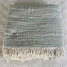 Cotton Throw Blanket Coastal Beauty - Mint - Yummy Linen Linen Sheets, Linen Bedding, Cotton Kimono, Cotton Throws, Quilt Cover, Slow Fashion, Dusty Rose, Textile Design, Biodegradable Products