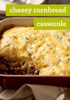 Cheesy Cornbread Casserole – Love serving chili with cornbread? This beefy, cheesy casserole delivers on your favorite flavor combination, with super-easy prep.