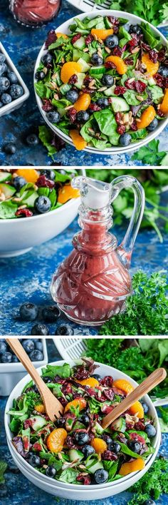 This tasty Cranberry Blueberry Spring Mix Salad with Blueberry Balsamic Dressing is vegetarian, gluten-free, dairy-free + paleo with an easy vegan swap! Healthy and delicious!