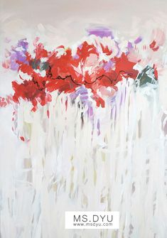 Abstract red oil painting by a contemporary female artist Ms Dyu. It is an original abstract oil painting for living room #msdyu #originaloils #originalartpaintings