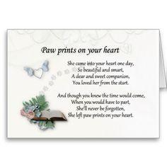 She left pawprints on your heart sympathy card. Pet sympathy
