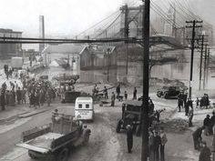 The Ohio River flood of 1937 took place in late January and February 1937. With damage stretching from Pittsburgh to Cairo, Illinois, one million people were left homeless, with 385 dead and property losses reaching $500 million. Federal and state resources were strained to aid recovery, as the disaster occurred during the Great Depression and a few years after the Dust Bowl.