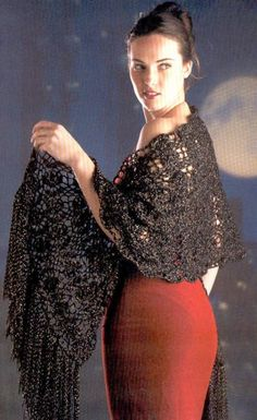 Free diagram for pattern Shawl, wrap, scarf, prayer shawl  étole noir brillant