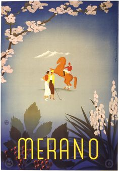 Merano, Italy. This vintage travel poster circa 1937 show a woman with a tennis racquet, a woman with a golf club and a man riding a horse. Illustrated by Sergio Franciscone.