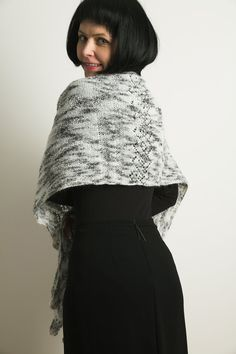 Elegant Kid Mohair and Extra fine Wool black and white by linarekl, $209.00