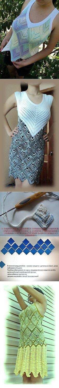Gestrickte Geometrie 6. Crochet Shirt, Love Crochet, Knit Crochet, Knitting Stitches, Hand Knitting, Knitting Patterns, Tunisian Crochet, Crochet Fashion, Crochet Dresses