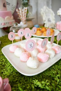 Cake bites at an Alice in Wonderland Birthday Party!  See more party ideas at CatchMyParty.com!