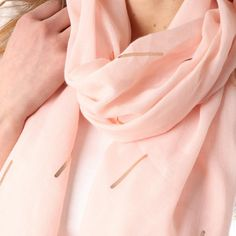 Ladies' Light Pink abstract foil print scarf, by Style Slice, features shiny metallic matchsticks printed in rose gold. Elegant spring or summer shawl that can be personalised with a charm or a monogram. Suitable as a gift for anniversary, birthday or any day in which to tell the woman in your life, be it a Mum, Wife, Sister or Girlfriend, that she is special. #scarf #shawl #wrap #scarves #fashion #vintage #handmade #acessories #etsy #gift #sparkle #glitter #headwrap #ootd