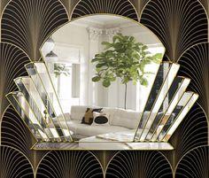 Venus Art Deco Fan Over Mantle Wall Mirror - Venus Art Deco Fan Over Mantle Wall Mirror The Venus Art Deco Mirror is a quality, handmade British mirror. Designed by Phillip Orr and handmade in our Norfolk Workshop. Art Deco Bar, Art Deco Room, Art Deco Living Room, Art Deco Bathroom, Art Deco Mirror, Living Room Mirrors, My Living Room, Art Deco Decor, Art Deco Wall Art