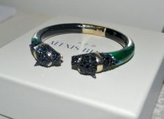 Alexis Bittar Jungle Green W Jet Black Crystals Panther Chain Hinged Lucite Bracelet off retail Fashion Bracelets, Fashion Jewelry, Gold Tips, Alexis Bittar, Black Crystals, Bling Bling, Panther, Jewelry Collection, Jet