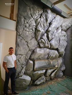 Wall Texture Design, Wall Design, Fake Rock Wall, Earth Sheltered Homes, Concrete Crafts, 3d Wall Panels, Nature Decor, Textured Walls, Wall Decor