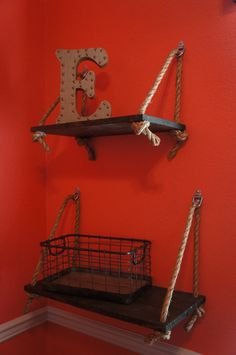 Rustic Wooden Display Shelf with Rope Detail This listing is for one SIZE LARGE shelf! To purchase both the Large and Small shelf for a