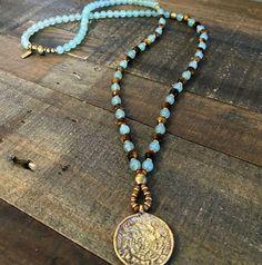 Luck and Prosperity Aventurine and Tigers Eye beaded necklace with Tibetan pendant 108 bead mala. #malas