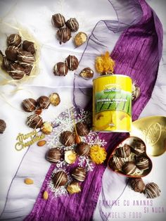 Praline cu ananas, migdale glazurate, nuci și nuca de cocos trase prin ciocolata Coco, Christmas, Magic, Sun, Recipes, Pineapple, Natal, Xmas, Recipies