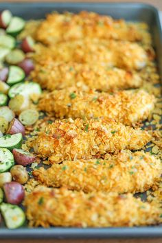 Baked Ranch Chicken Tenders and Veggies - No one will ever believe that these crisp chicken fingers are completely baked and cooked on ONE PAN with veggies! quick and easy meals Baked Ranch Chicken, Baked Chicken Tenders, Ranch Parmesan Chicken, Baked Chicken And Veggies, Baked Chicken Tenderloins, Ranch Chicken Recipes, Chicken Zucchini, Chicken Tender Recipes, Crispy Chicken