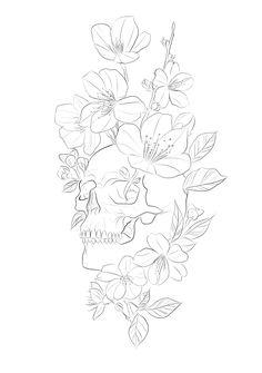 Pretty Tattoos, Love Tattoos, Body Art Tattoos, Small Tattoos, Rose Drawing Tattoo, Tattoo Design Drawings, Tattoo Sketches, Floral Skull Tattoos, Floral Tattoo Design
